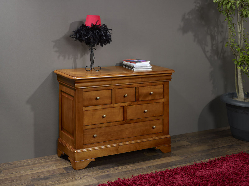 petite commode 6 tiroirs ad le en merisier massif de style. Black Bedroom Furniture Sets. Home Design Ideas