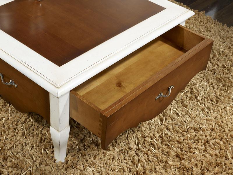 Table basse rectangulaire zo de style louis xv en merisier finition merisier et laqu ivoire - Table basse style louis xv ...