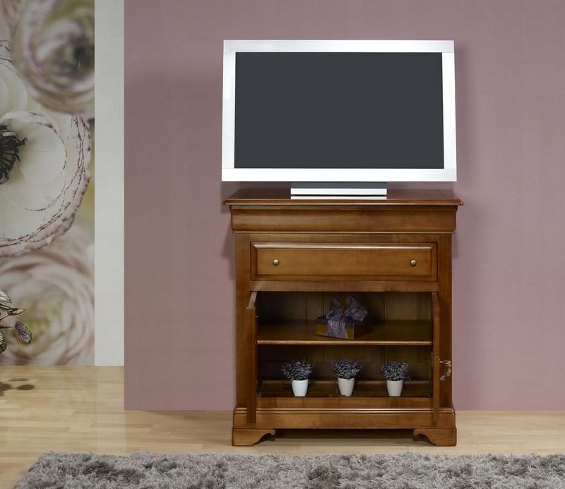 meuble tv 2 portes en merisier massif de style louis philippe meuble en merisier. Black Bedroom Furniture Sets. Home Design Ideas