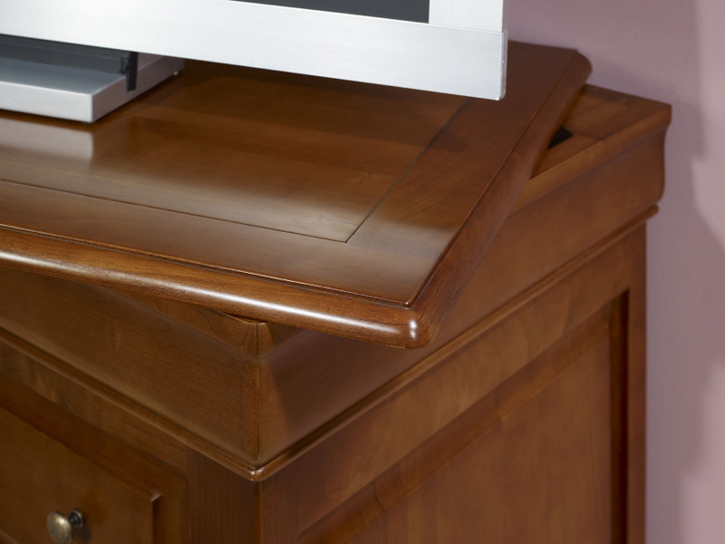 Meuble Tv  Portes En Merisier Massif De Style Louis Philippe