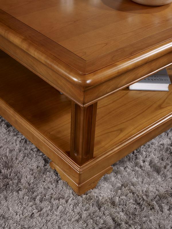 table basse carr e en merisier de style louis philippe meuble en merisier. Black Bedroom Furniture Sets. Home Design Ideas
