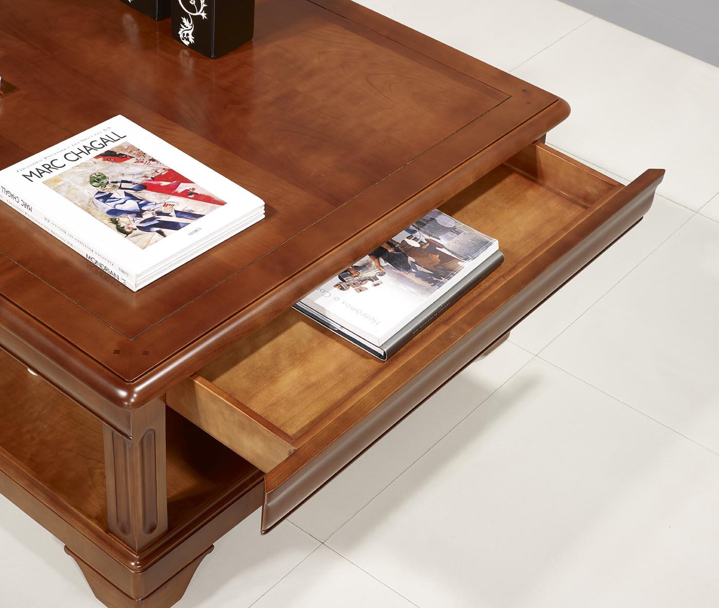 Basse Louis Table De Merisier PhilippeMeuble Carrée En Style wliuTPkXOZ