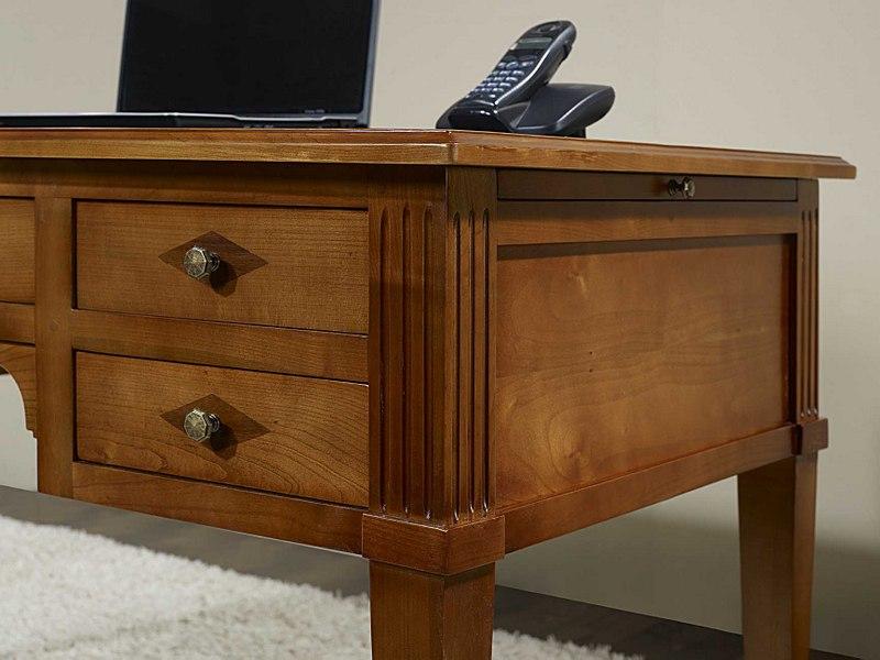 Bureau Ministre 5 tiroirs en Merisier Massif de style Directoire , meuble en  -> Bureaux Style Ministre