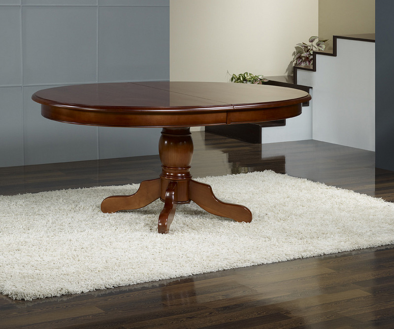 Table ovale pieds central en merisier massif 160x120 5 - Table ovale design pied central ...