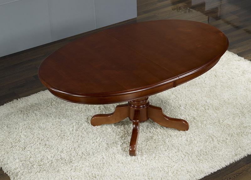 table ovale pieds central en merisier massif 160x120 - 5 allonges