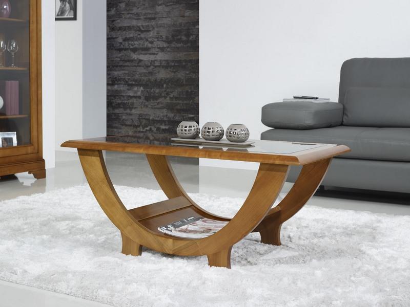 table basse en merisier massif de style contemporain meuble en merisier. Black Bedroom Furniture Sets. Home Design Ideas