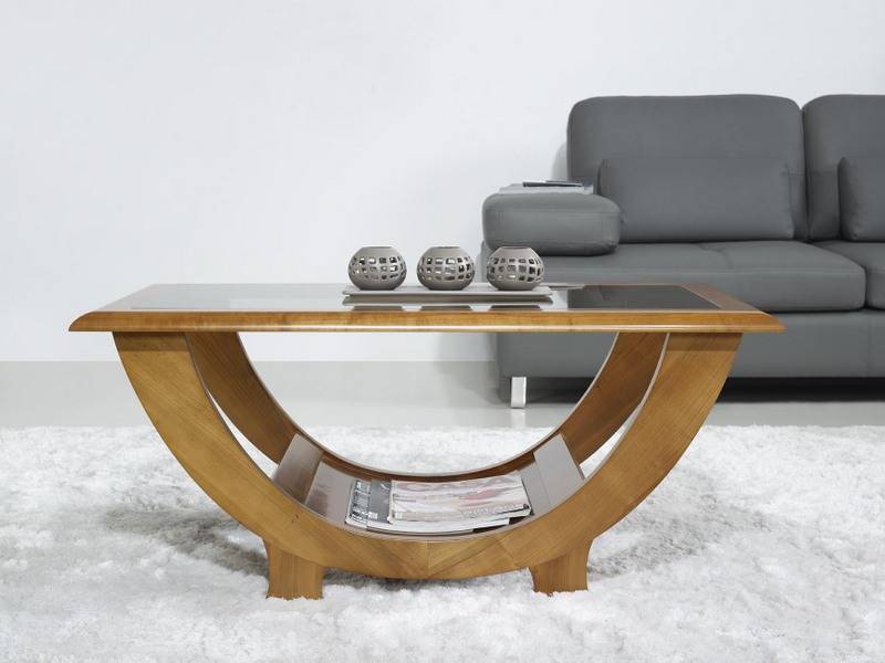 Table Basse En Merisier Massif De Style Contemporain