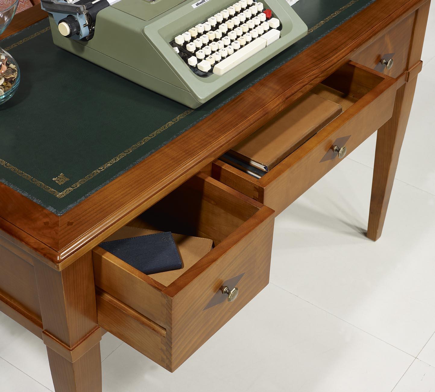 bureau 3 tiroirs 1 2 ministre ine en merisier massif de style directoire meuble en merisier. Black Bedroom Furniture Sets. Home Design Ideas