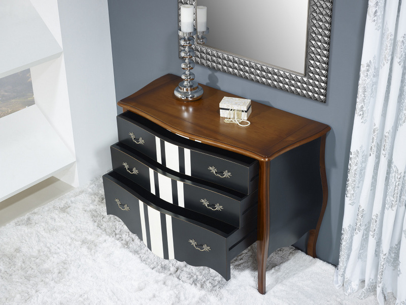 commode 3 tiroirs b rang re en merisier de style louis xv laqu noir et ivoire meuble en merisier. Black Bedroom Furniture Sets. Home Design Ideas