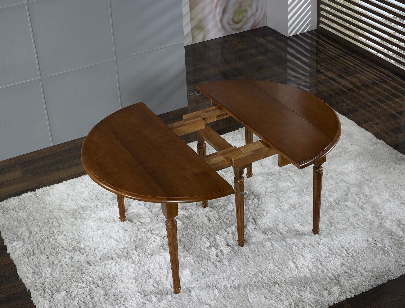 Table Ronde Volets E En Merisier Massif De Style Louis Xvi 6  # Meuble Tv Louis Xvi