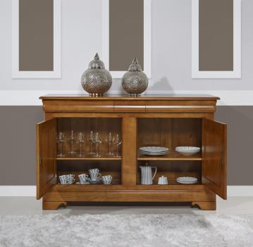 buffet 2 portes 3 tiroirs en merisier massif de style louis philippe meuble en merisier. Black Bedroom Furniture Sets. Home Design Ideas