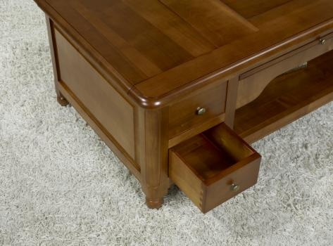 Table basse jeu d 39 chec en merisier de style louis philippe meuble en merisier - Table basse louis philippe ...