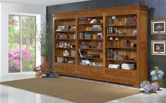 biblioth que ouverte florence en merisier massif de style louis philippe largeur 395 cm meuble. Black Bedroom Furniture Sets. Home Design Ideas