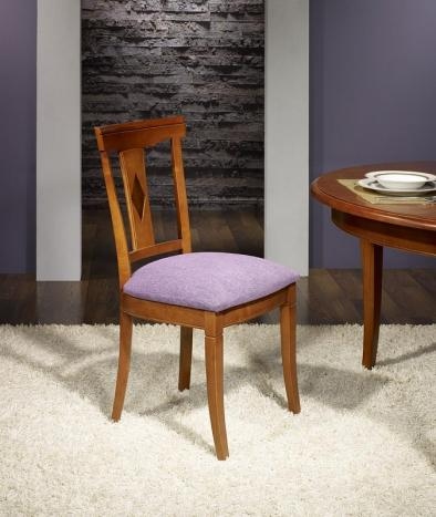 chaise syriel en merisier massif de style louis philippe assise mauve meuble en merisier. Black Bedroom Furniture Sets. Home Design Ideas