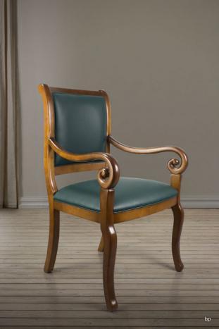 fauteuil crosse de style louis philippe moleskine vert anglais meuble en merisier. Black Bedroom Furniture Sets. Home Design Ideas