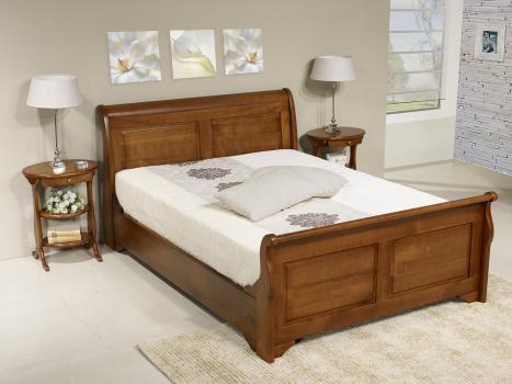 Lit 140x190 en merisier massif de style louis philippe meuble en merisier - Meuble merisier style louis philippe ...