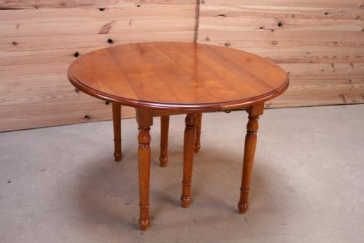 Table ronde à volets DIAMETRE 110 de style Louis Philippe en Merisier Massif 4 allonges de 40 cm