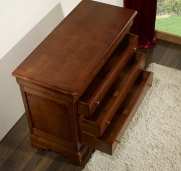 Commode 4 tiroirs en merisier massif de style louis philippe largeur 110 cm meuble en merisier - Commode merisier louis philippe ...