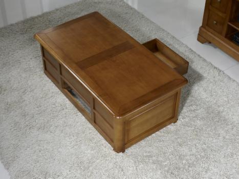 Table basse bar ine en merisier de style louis philippe meuble en merisier - Table basse louis philippe ...