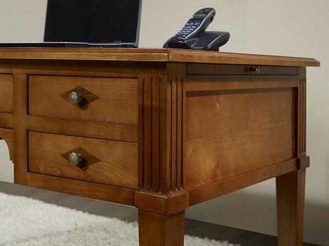bureau ministre 5 tiroirs en merisier massif de style directoire meuble en merisier. Black Bedroom Furniture Sets. Home Design Ideas