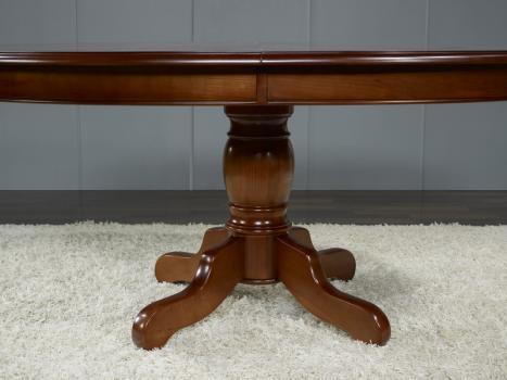 Table ovale pieds central en merisier massif 160 120 avec 3 allonges de 40 cm meuble en merisier - Table ovale avec pied central ...